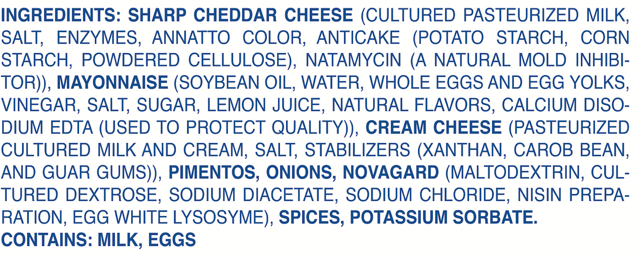 Palmetto Cheese Original ingredients