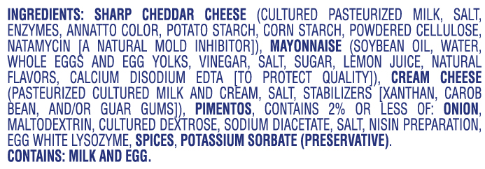 Palmetto cheese ingredients
