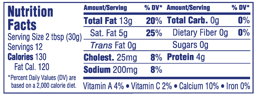 palmettocheese-12ozbacon nutritionals