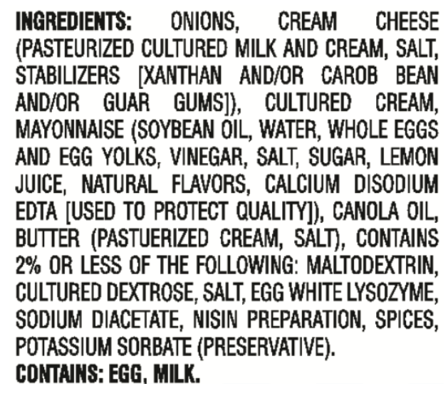 OMG! Onion Dip Ingredients